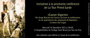 Carton invitation - Conférence Causer Bigorne 2015